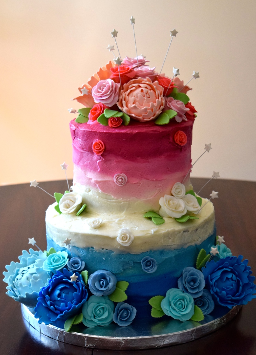 Pink and Blue Birthday Cake